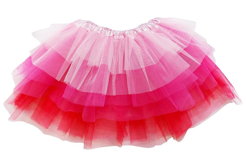 Pink, Hot Pink, Red - 6 Layer Tutu Skirt for Girls, Women, Plus