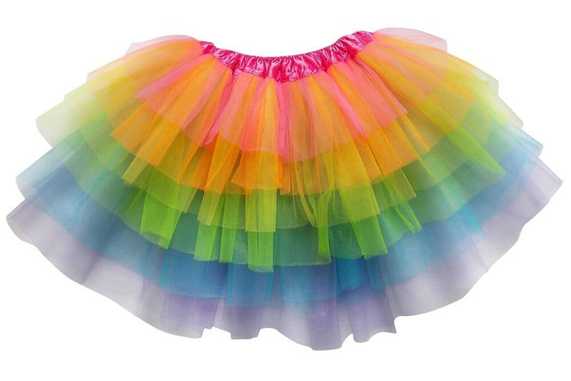 Neon Rainbow - 6 Layer Tutu Skirt for Girls, Women, Plus