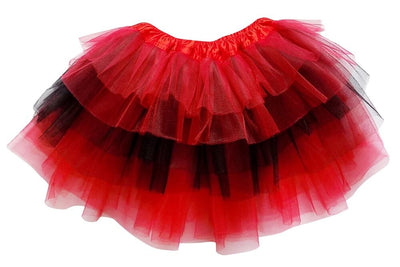 Red, Black - 6 Layer Tutu Skirt for Girls, Women, Plus