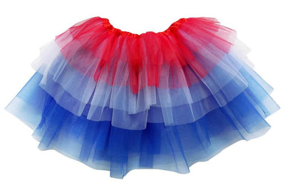 Red, White, Blue - 6 Layer Tutu Skirt for Girls, Women, Plus