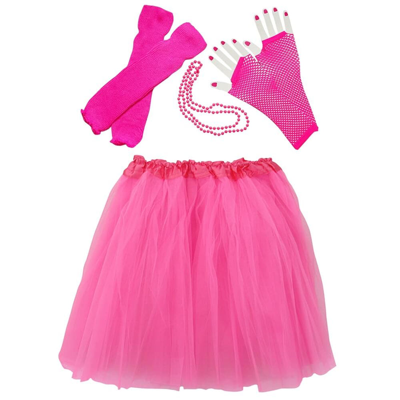 Hot Pink 80's Ballet Tutu Costume & Accessories for Adult, Women, Plus Size