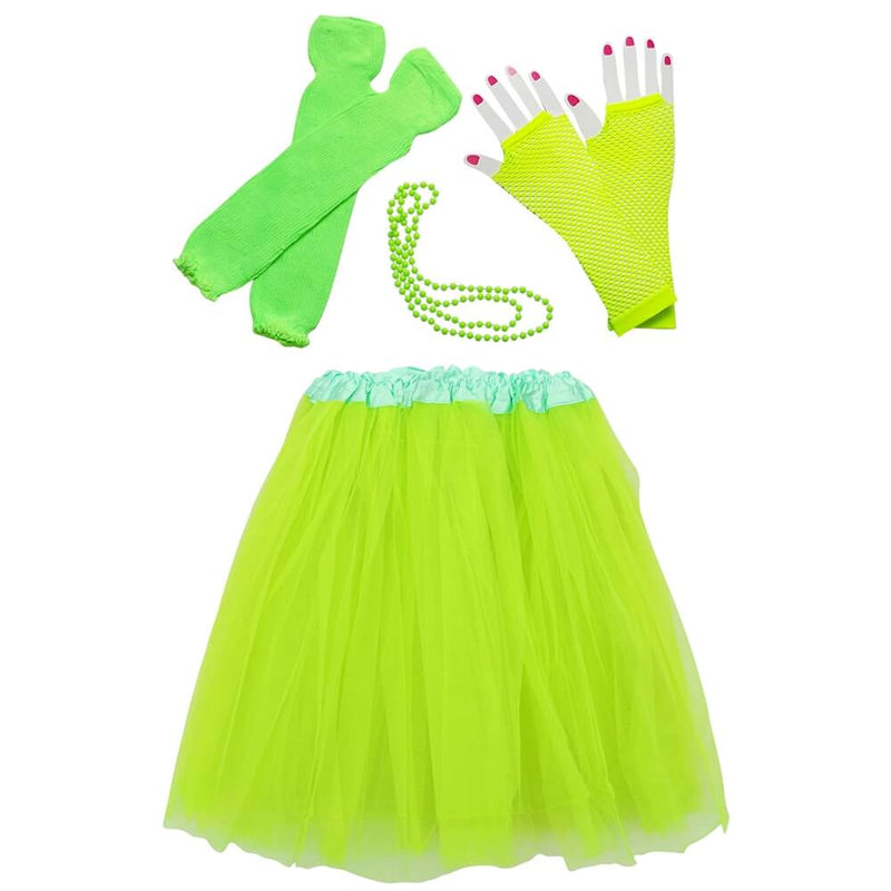 Neon Lime Green 80's Ballet Tutu Costume & Accessories for Adult, Women, Plus Size