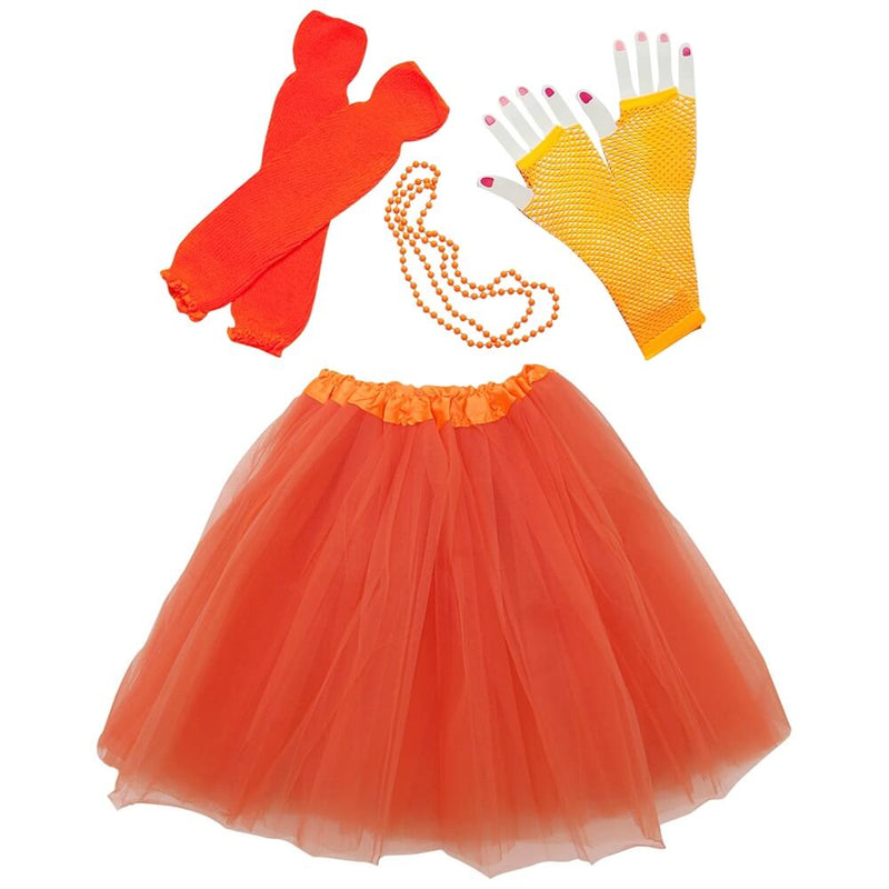 Neon Orange 80's Ballet Tutu Costume & Accessories for Adult, Women, Plus Size