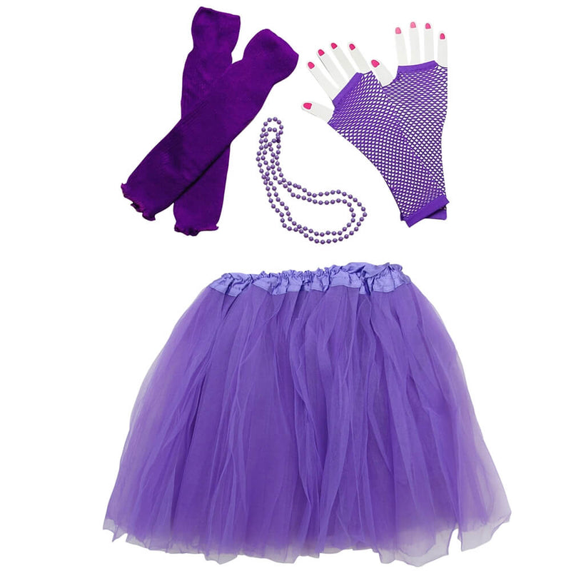 Purple 80's Ballet Tutu Costume & Accessories for Adult, Women, Plus Size
