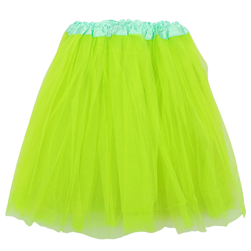 neon green adult plus/ extra plus size layer polyester tulle tutu skirt ballet costume