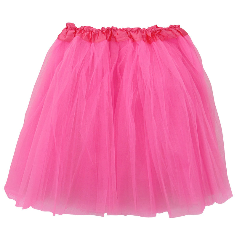 Neon Pink Adult size 3 layer polyester tulle tutu skirt ballet costume