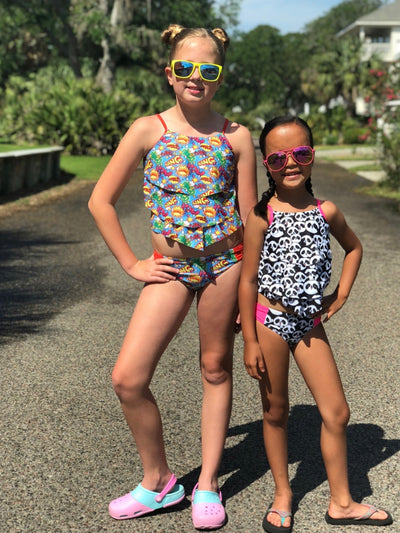 Comic Book Super Hero Girls' Two Piece Tiered Tankini Swimsuit - Sydney So Sweet - Cute Clothes for Girls, Baby Boutique
