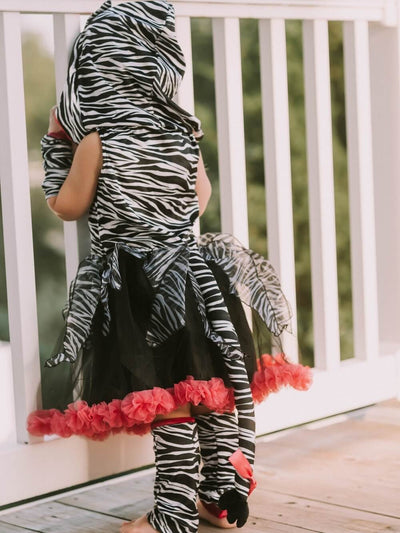 Hot Pink & Black Zebra Deluxe Hoodie Costume for Girls
