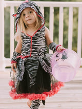 Hot Pink & Black Zebra Deluxe Hoodie Costume for Girls - buy online, free shipping, Sydney So Sweet