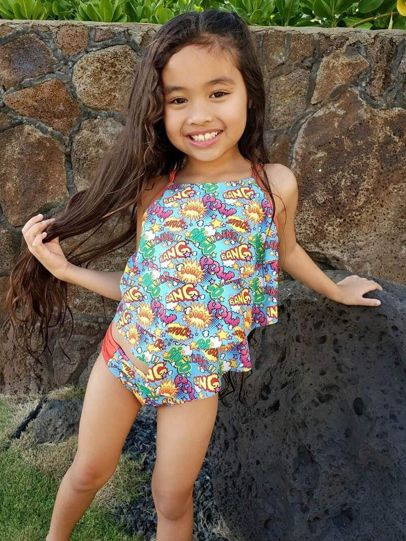 Comic Book Super Hero Girls' Two Piece Tiered Tankini Swimsuit - buy online, free shipping, Sydney So Sweet