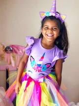 Unicorn Lavender Rainbow Tutu Skirt & Top Set