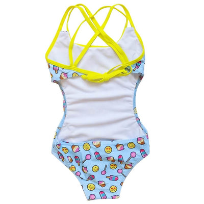 Emoji Treats Girls' One Piece Cut Out Cross Back Tie Swimsuit - Sydney So Sweet