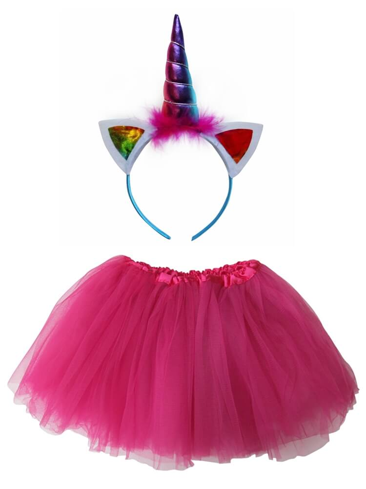 Hot Pink Rainbow Unicorn Tutu Costume with Headband Horn