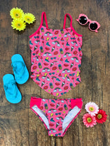 Emoji Summer Fun Girls' Two Piece Tiered Tankini Swimsuit - Sydney So Sweet