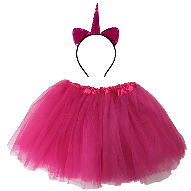 Hot Pink Flip Sequin Unicorn Tutu Girl's Costume with Headband Horn - buy online, free shipping, Sydney So Sweet