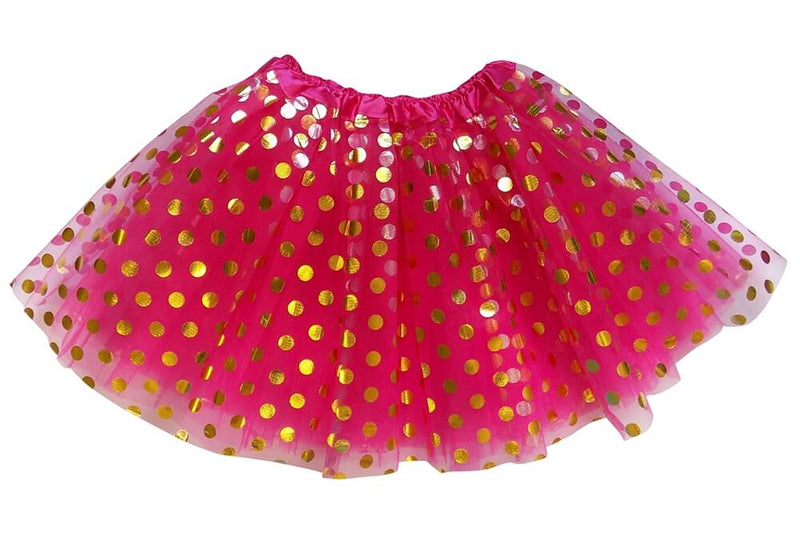 Hot Pink - Gold Polka Dot Tutu Skirt for Girls, Women, Plus