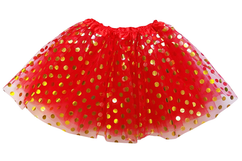 Red - Gold Polka Dot Tutu Skirt for Girls, Women, Plus