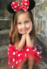 Red Minnie Mouse Headband Ears, Kid or Adult Costume Accessories