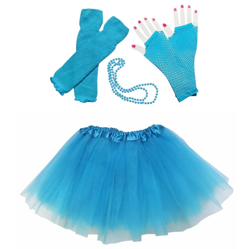 Turquoise Blue 80's Ballet Tutu Costume & Accessories for Kids
