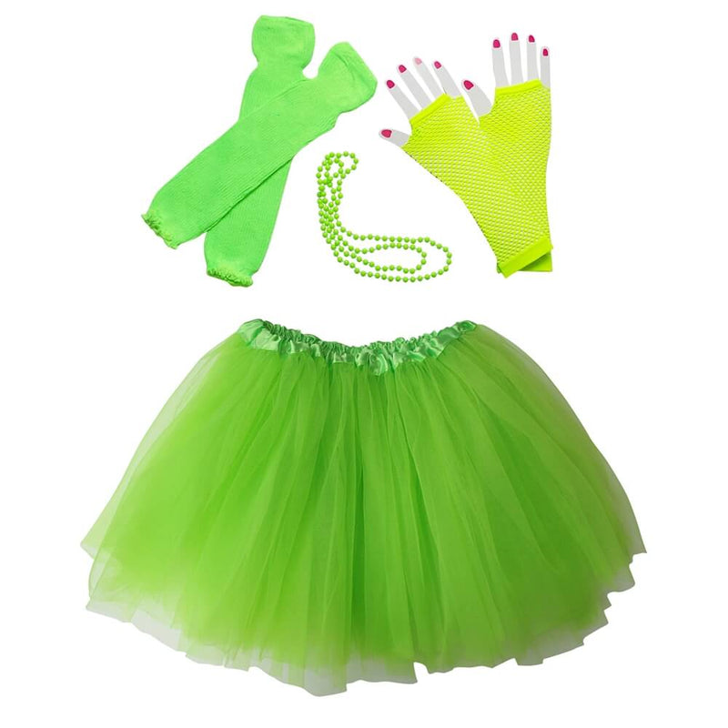 Lime Green 80's Ballet Tutu Costume & Accessories for Kids