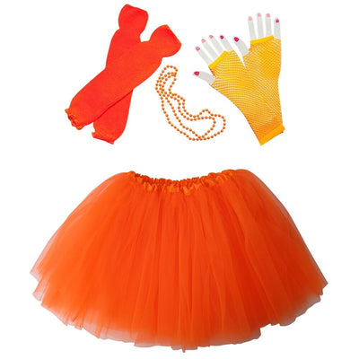 Neon Orange 80's Ballet Tutu Costume & Accessories for Kids