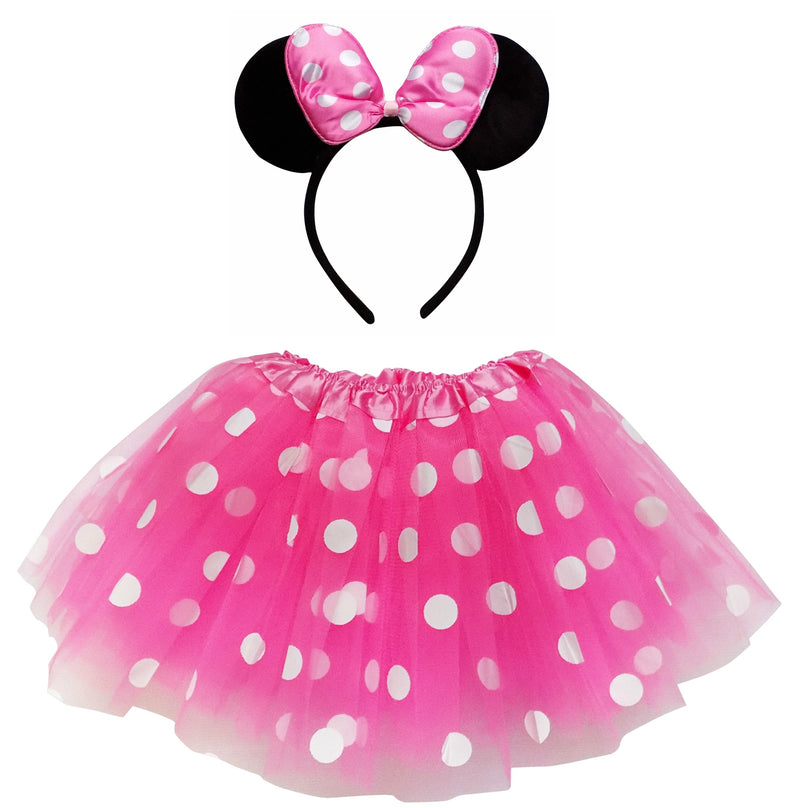Minnie Mouse Costume  with hot pink polka dot Tutu & Ears headband