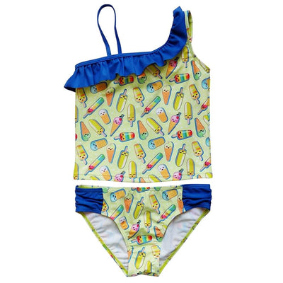 Popsicle Party One Shoulder Girls' Two Piece Tankini Swimsuit