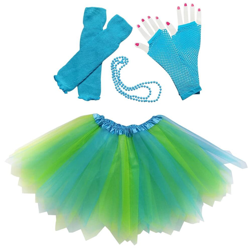Neon Blue 80's Pixie Tutu Costume & Accessories for Kids, Womens, Plus Size