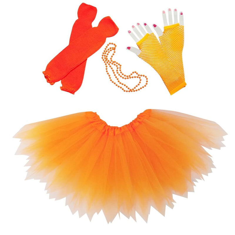Neon Orange 80's Pixie Tutu Costume & Accessories for Kids, Womens, Plus Size