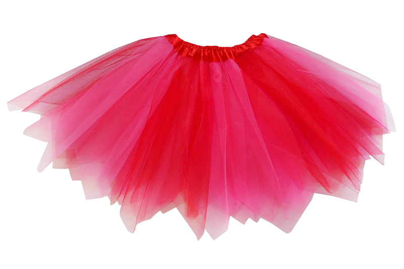neon pink and red 3 layer kids pixie (angle) cut tutu skirt costume