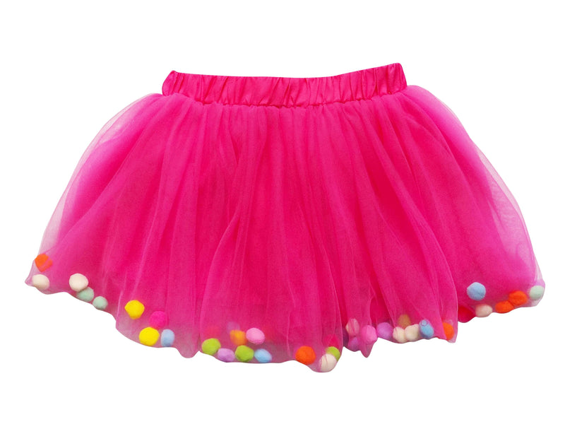 Hot Pink Pom Pom Girls Tutu Skirt - Kids Size
