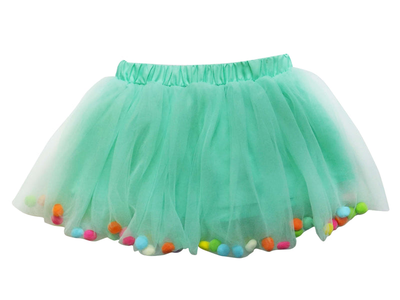 Mint Pom Pom Girls Tutu Skirt- Kids Size