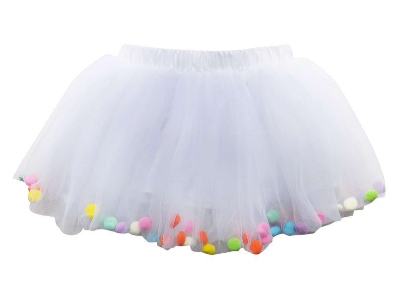 White Pom Pom Girls Tutu Skirt