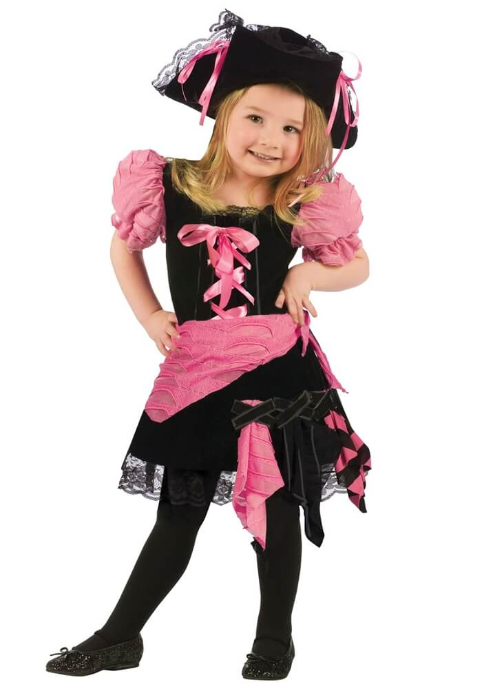 Cute Punk Pink Pirate Deluxe Costume For Toddler, Girls - Sydney So Sweet