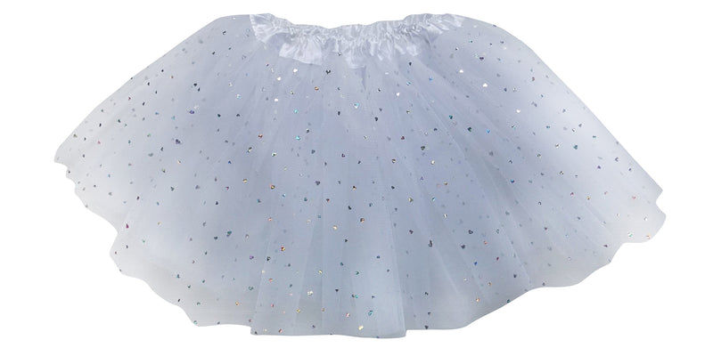 White- Sequin Heart Tutu