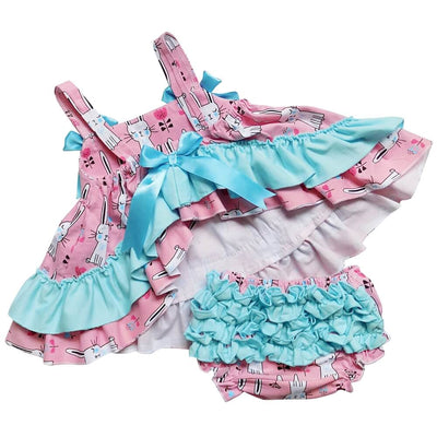 Bunny Pink & Blue Ruffle Swing Outfit - Sydney So Sweet