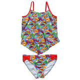 Comic Book Super Hero Girls' Two Piece Tiered Tankini Swimsuit - Sydney So Sweet