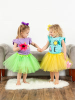 Neon Green Girls Tutu Skirt - Kids Size 3- Layer Basic Ballet Tutu