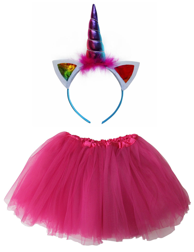 Adult, Plus, or Extra Plus Size Hot Pink Rainbow Unicorn Tutu Costume - Sydney So Sweet