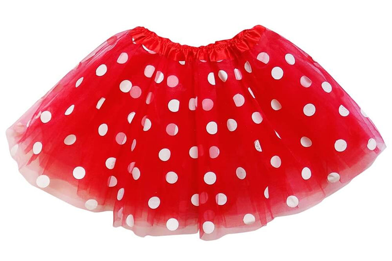 Red - White Polka Dot Tutu Skirt for Girls, Women, Plus