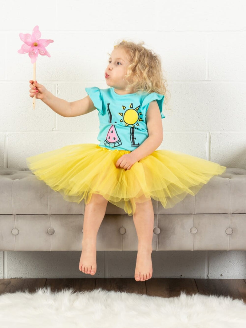 Yellow Girls Tutu Skirt - Kids Size 3- Layer Basic Ballet Tutu