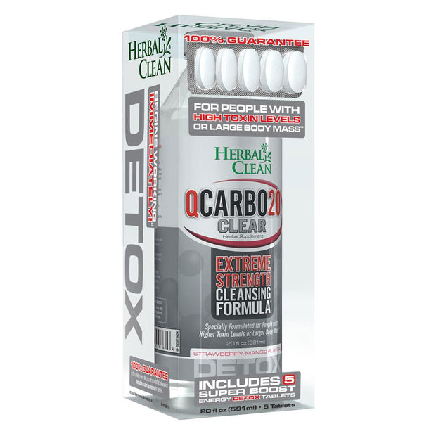Herbal Clean QCarbo20 Clear Detox Drink | Strawberry Mango