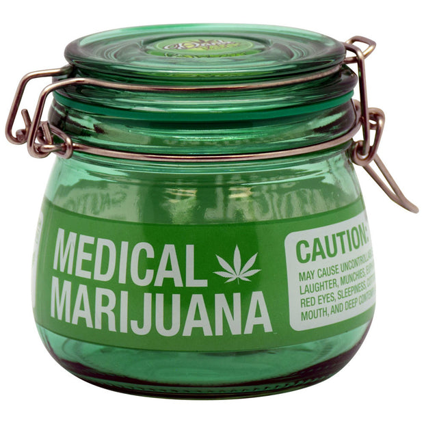 Medical Marijuana Glass Jar With Latching Lid