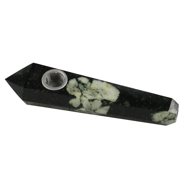 Gemstone Hand Pipe | Green Marbled