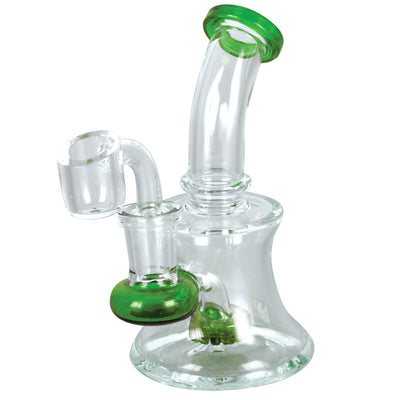 Mini Hour Glass Dab Rig - Green Accents