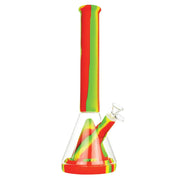 Silicone & Glass Hybrid Beaker Bong in Rasta Color