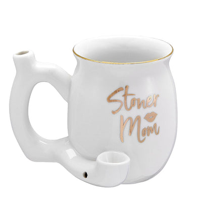 Stoner Mom Ceramic Mug Pipe in White Color