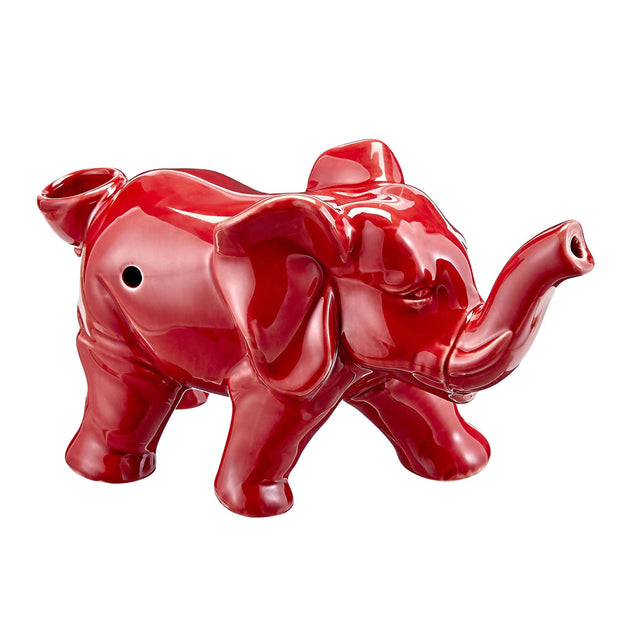 Lucky Elephant Ceramic Pipe | Red