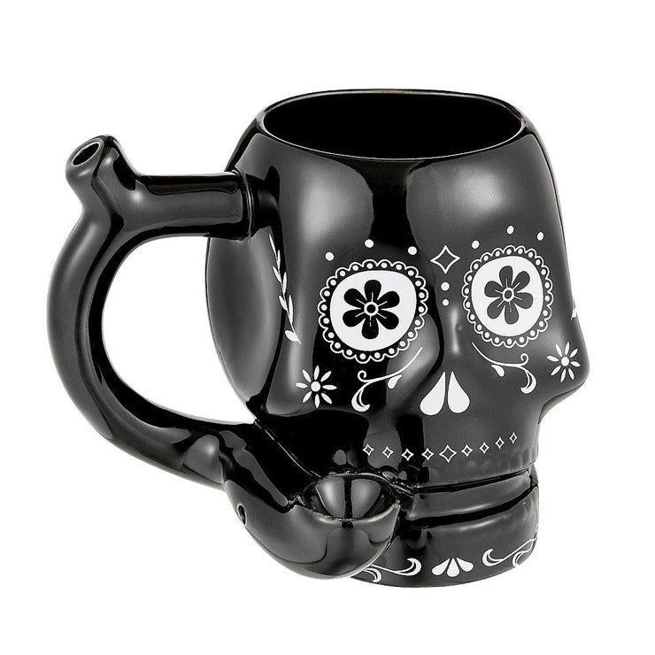 Ceramic Mug Pipe with a sugar skull design in black