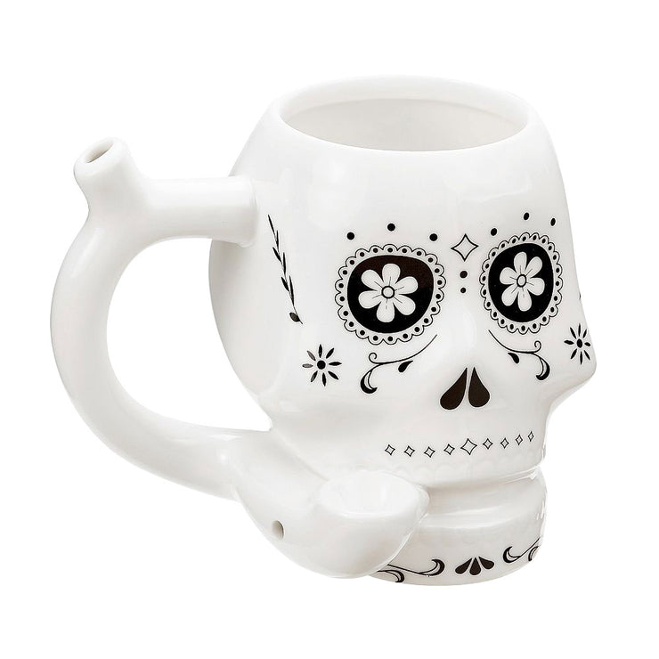 Ceramic Mug Pipe with a sugar skull design in white.